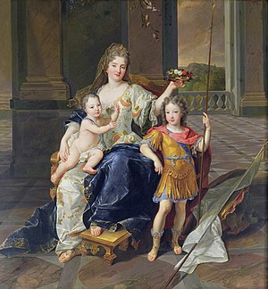 Governess of the Children of France - The Duchess of La Ferté-Senneterre with the Duke of Anjou on her lap and the Duke of Brittany, François de Troy.