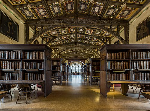 A library in Oxford (England) Duke Humfrey's Library Interior 6, Bodleian Library, Oxford, UK - Diliff.jpg