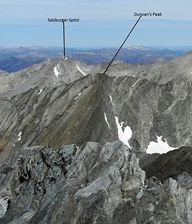 A photo of Salzburger Spitzl viewed the summit of Hyndman Peak with Duncan's Peak