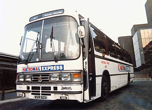 National Express Coaches - Duple Dominant bodied Leyland Tiger in Liverpool in 1982 in the original livery