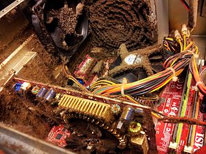 Dirt - The inside of this computer over time has accumulated  a lot of dust and has become dirty.