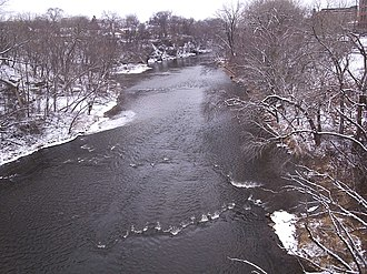 Eau Claire River (Chippewa River tributary) - Looking downstream toward downtown Eau Claire, from the footbridge on the east end of Banbury Place, Jan. 31, 2006.