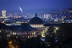 ETH Library - ETH Zurich in the evening