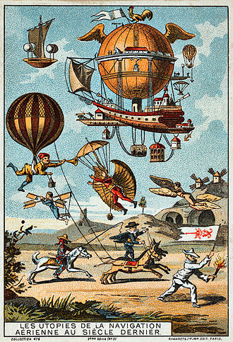 Utopia - Utopian flying machines, France, 1890-1900 (chromolithograph trading card).