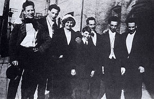 Groucho Marx - The only known photo of all five Marx brothers with their parents in New York City, 1915; from left: Groucho, Gummo, Minnie (mother), Zeppo, Frenchie (father), Chico, and Harpo