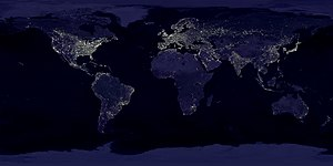 Leslie White - Composite image of the Earth at night, created by NASA and NOAA. The brightest areas of the Earth are the most urbanized, but not necessarily the most populous. Even more than 100 years after the invention of the electric light, some regions remain thinly populated and unlit.