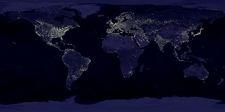 A composite picture of Earth at night, created with data from the Defense Meteorological Satellite Program (DMSP) Operational Linescan System (OLS). Large-scale artificial lighting produced by human civilization is detectable from space. Earthlights dmsp 1994-1995.jpg