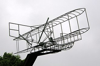Eastchurch - Sculpture on the edge of Eastchurch depicting a Short Brothers biplane, unveiled in July 2009 to mark the centenary of British aviation