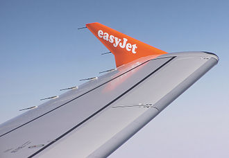 Static discharger - Static dischargers on the winglet and aileron of an EasyJet Airbus A319-100