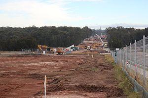 South West Rail Link - Edmondson Park station construction site in June 2012