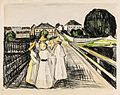 Edvard Munch (1863-1944) On the Bridge 1912. Hand colored lithograph on laid paper 15.75 x 20 7 8.jpg