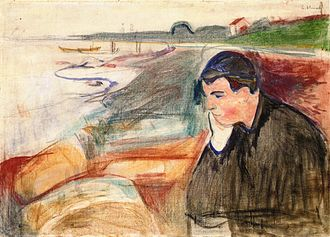 Edvard Munch - Melancholy, 1891, oil, pencil and crayon on canvas, 73 × 101 cm, Munch Museum, Oslo