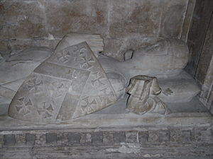 "Maurice de Berkeley, 2nd Baron Berkeley - Effigy of Maurice de Berkeley, 2nd Baron Berkeley (died 1326) ""The Magnanimous"", St Augustine's Abbey, Bristol (Bristol Cathedral). The Berkeley arms are visible on his shield"