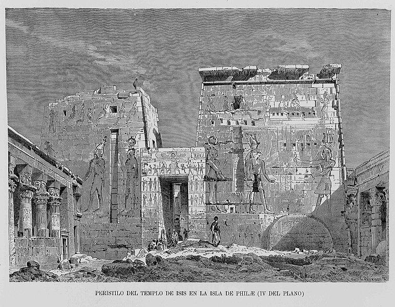"File:Egipto, 1882 ""Peristilo del templo de Isis en la Isla de Philae (IV del plano) (21674460055).jpg"