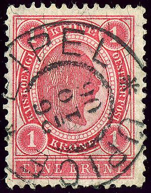 Úpice - Austrian KK stamp, 1 krone, bilingual cancelled in 1906
