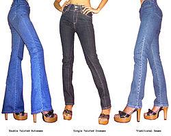 d0e58bac Jeans for kvinner. Buksene har forskjellig snitt og antall sømmer, sleng,  trange og rette buksebein.