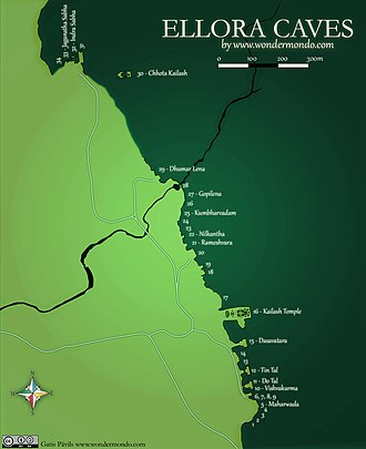 Ellora Caves - Ellora Caves, general map (the rock is depicted as dark green).