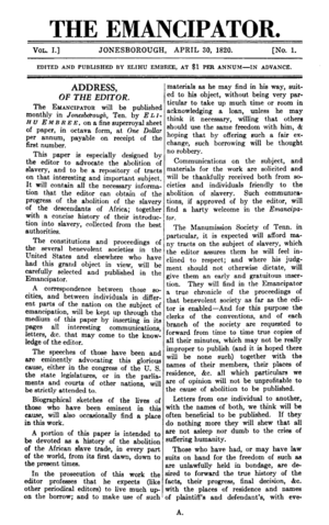 Joshua Leavitt - The Emancipator, an abolitionist broadsheet edited by Rev. Joshua Leavitt