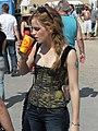 Emma Watson cooling off backstage at Glastonbury 2010 (5755870896).jpg