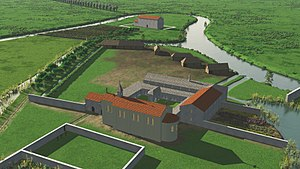 Ename Abbey - 3D reconstruction of the first Saint Salvator abbey around 1085
