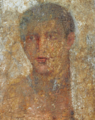 Encaustic on marble, portrait of a young man from a grave stele, with an inscription ΘΕΟΔΩΡΟΣ ΧΑΙΡΕ Theodoros Farewell 2.png