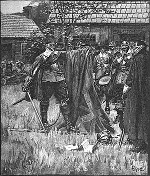 John Endecott - Illustration by Howard Pyle showing Endecott defacing the English flag. Pyle has incorrectly depicted the flag as a Union Jack, when the flag at the time only contained St George's Cross.
