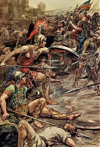 Pelopidas - Epaminondas defending Pelopidas at the Siege of Mantinea (385 BCE).