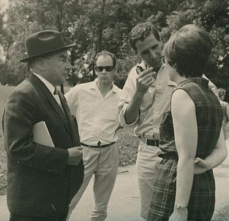 Erich Kästner - Erich Kästner (left) in the English Garden, Munich, 1968