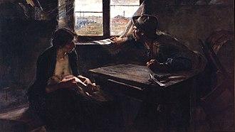 Ernesto de la Cárcova - Without Bread or Work, oil on canvas, 1893.