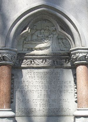 Diethyl ether - Panel from monument in Boston commemorating Morton's demonstration of ether's anesthetic use.