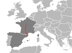 Map of the E 09 within France and Spain.