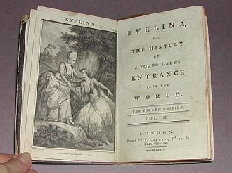 Novel of manners - The illustrated title-pages of volume II, Fourth Edition of the novel Evelina: Or the History of a Young Lady's Entrance into the World (1779), by Frances Burney.