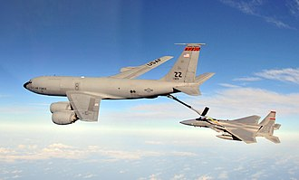 909th Air Refueling Squadron - A 909th Air Refueling Squadron Boeing KC-135R refuels an F-15 Eagle in 2010
