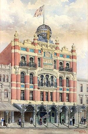 Tivoli Theatre, Melbourne - Facade illustration of the New Opera House, Melbourne, 1900. Source: State Library of Victoria