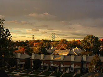 Neighbourhoods of Windsor, Ontario - Overlooking the Ambassador Bridge from Windsor during fall, near dusk