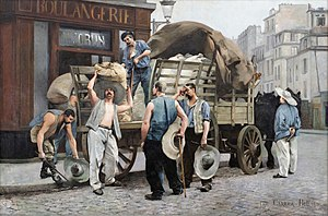 France in the long nineteenth century - Workers unloading flour in Paris, 1885