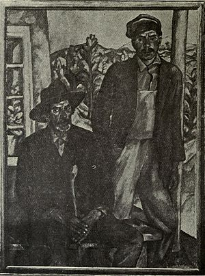 Bror Julius Olsson Nordfeldt - Father and Son. Black and white reproduction from 1921 exhibition catalog.