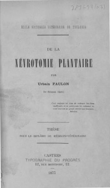 File:Faulon - De la névrotomie plantaire.djvu