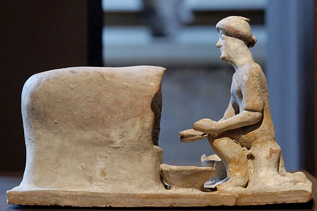 Greek woman baking bread (c. 5th century BC) - Ancient Greek Nutrition