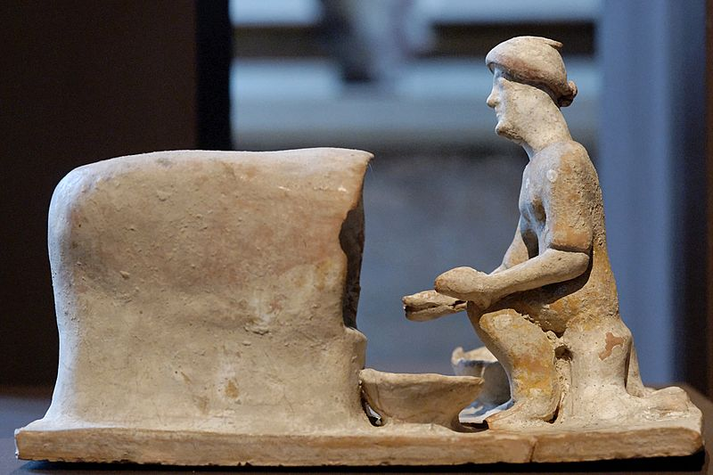 Terracotta Sculpture of Greek Woman Baking