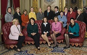 The 16 female senators in the 110th US Congress.