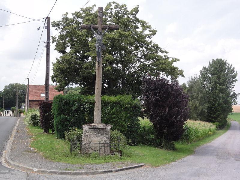 Fieulaine (Aisne) croix de chemin (bois)