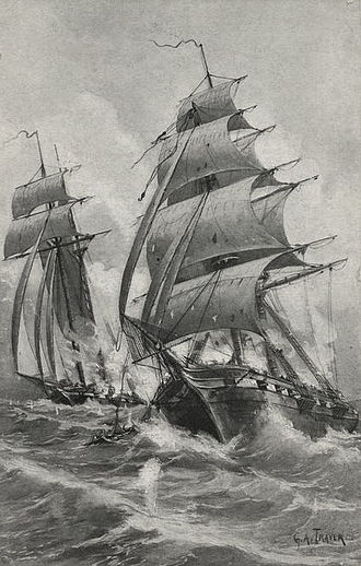 Quasi-War - Image: Fight between the Enterprise and the French brig Flambeau cropped