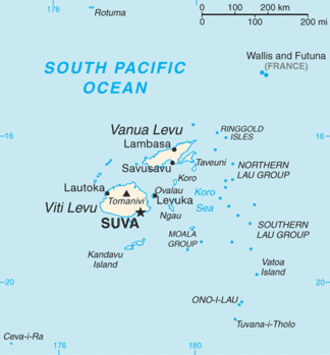 Viti Levu - Map of Fiji showing Viti Levu (one of its major islands)