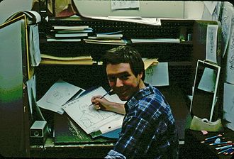 Filmation - Layout artist Lindsay Dawson working on a key-frame of animation for He-Man and the Masters of the Universe. This was a typical working desk for animators, layout artists, and background designers at Filmation in 1983.