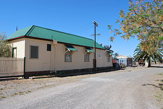 """Finley, New South Wales - Finley station, built in an American """"pioneer"""" style as a cost-saving measure during the depression at the turn of the 19th century."""