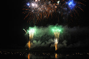 Kitakami Michinoku Traditional Dance Festival - Fireworks display over the Kitakami River, as the small lanterns float down the river