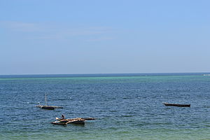 Fishing boats as viewed from from the Reef Hotel during high tide in Mombasa, Kenya 2.jpg