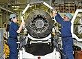 Flickr - Official U.S. Navy Imagery - Sailors perform maintenance on Super Hornet engine..jpg