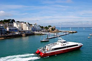 Red Funnel - Red Jet 3 passes Cowes Parade